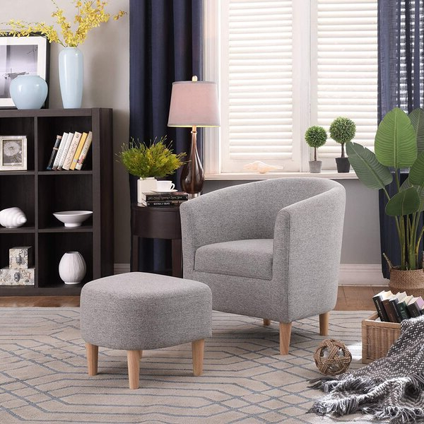 Newest Jazouli Linen Barrel Chairs And Ottoman With Regard To Modern Chair And Ottoman (View 24 of 30)