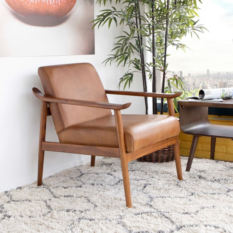 """Newest Lakeville Armchairs With Haddon 26"""" W Top Grain Leather Armchair (View 24 of 30)"""