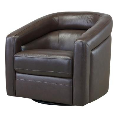 Newest Lucea Faux Leather Barrel Chairs And Ottoman Throughout Brown – Accent Chairs – Chairs – The Home Depot (View 29 of 30)