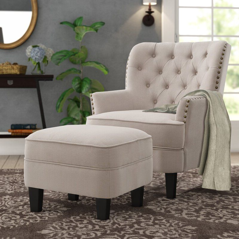 "Newest Michalak Cheswood 23"" Armchair And Ottoman In (View 2 of 30)"