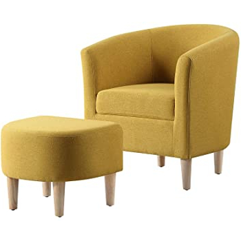 Newest Modern Armchairs And Ottoman Intended For Dazone Modern Accent Chair, Upholstered Arm Chair Linen Fabric Single Sofa Chair With Ottoman Foot Rest Mustard Yellow Comfy Armchair For Living Room (View 9 of 30)