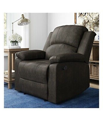 Newest Reynolds Armchairs Within Manual Recliner Large Armchair Faux Suede Lifestyle (View 9 of 30)