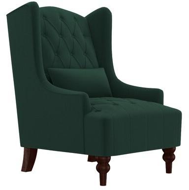 "Newest Wetumka 17"" Wingback Chair Upholstery Color: Emerald Green Velvet Intended For Lauretta Velvet Wingback Chairs (View 24 of 30)"