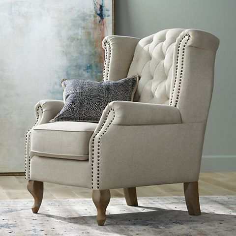 Newest Williamsburg Natural Linen Tufted Wingback Armchair – #10m58 In Ragsdale Armchairs (View 9 of 30)