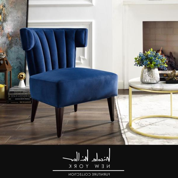 Nicole Miller Azariah Navy Velvet Accent Chair With Regarding Latest Armless Upholstered Slipper Chairs (View 26 of 30)