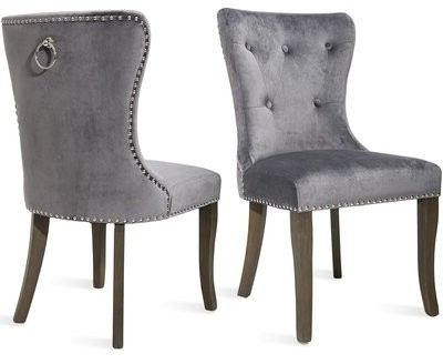 Nika Tufted Velvet Upholstered Wingback Dining Chair Upholstery Color: Gray Throughout Best And Newest Madison Avenue Tufted Cotton Upholstered Dining Chairs (set Of 2) (View 23 of 30)