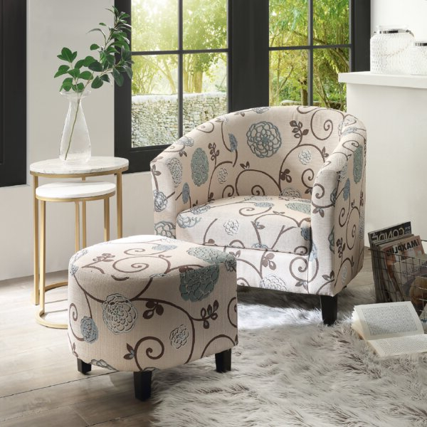 Off White Chair And Ottoman Within Widely Used Briseno Barrel Chairs (View 20 of 30)