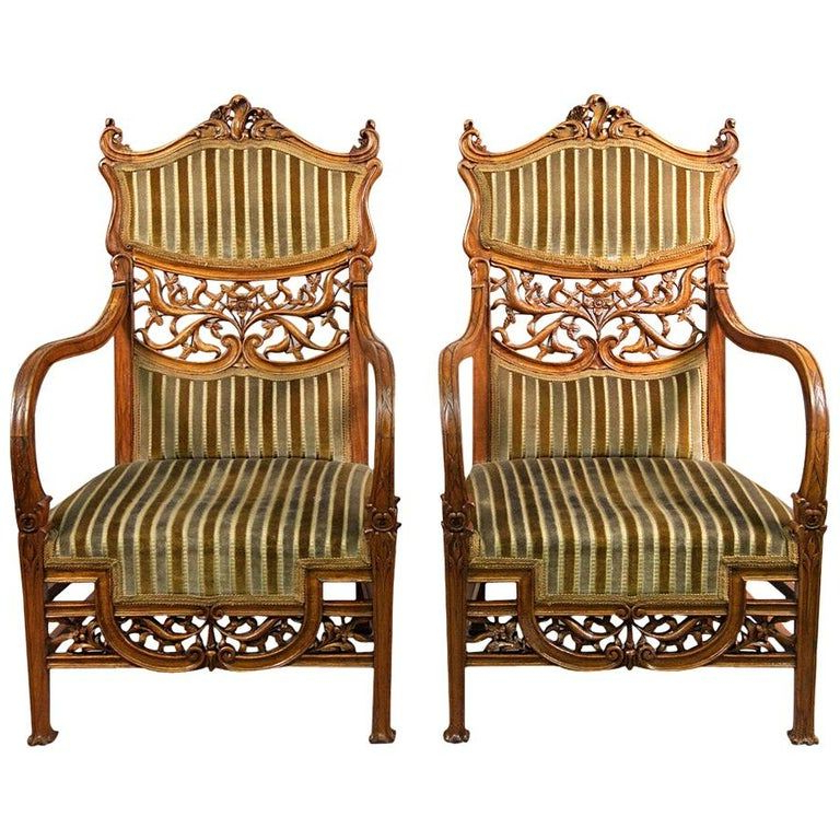 Oglesby Armchairs With Regard To Favorite Beautiful Pair Of Early 20th Century Art Nouveau Carved Wood (View 30 of 30)