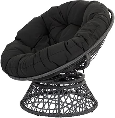Osp Designs Bf25292 Bk Papasan Chair With 360 Degree Swivel, Black Cushion Frame Within Newest Decker Papasan Chairs (View 17 of 30)