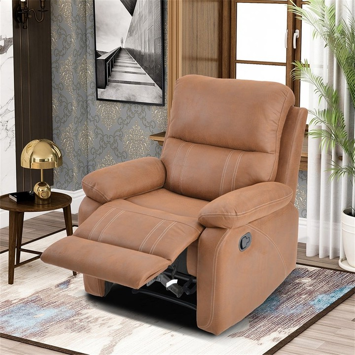 Overstock Recliner Chair With Padded Seat Faux Leather Home Theater Seating Within Most Recently Released Ansar Faux Leather Barrel Chairs (View 28 of 30)