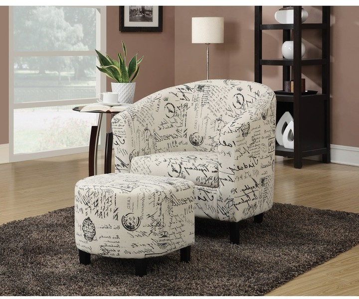 Overstock Vannes Transitional Vintage French Script Accent Chair And Ottoman With Popular Alexander Cotton Blend Armchairs And Ottoman (View 19 of 30)