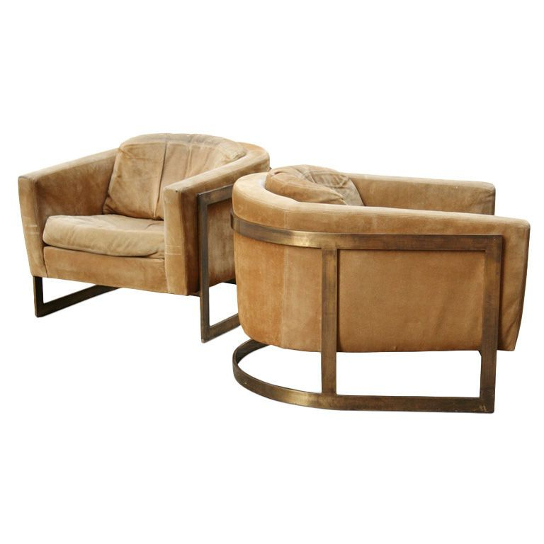 Pair Of Bronze Frame Upholstered Barrel Lounge Chairs In Inside Most Popular Nadene Armchairs (View 19 of 30)