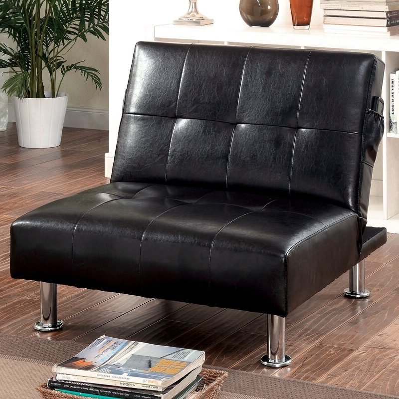Featured Photo of Perz Tufted Faux Leather Convertible Chairs