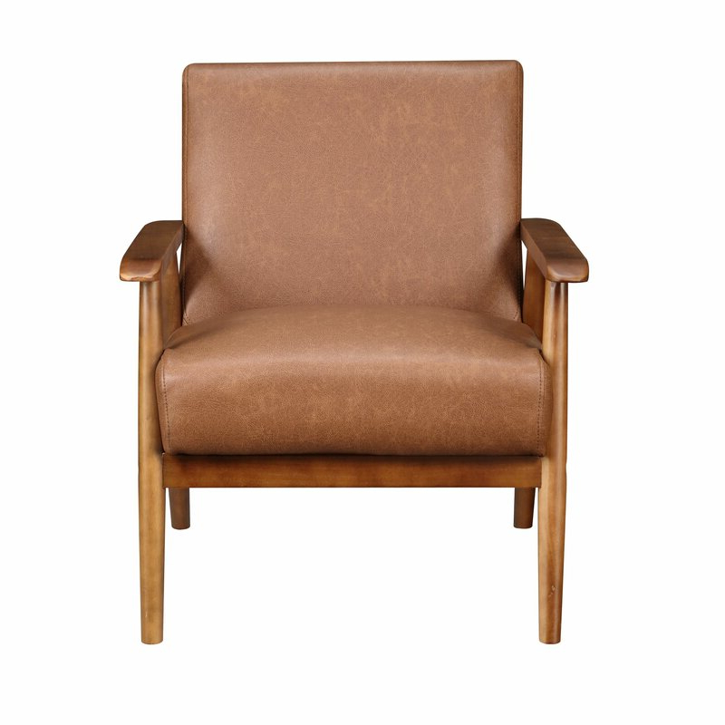 """Polyester Blend Armchairs With Regard To Famous Barlow 21"""" Armchair, Cognac Polyester Blend – Wayfair (View 21 of 30)"""