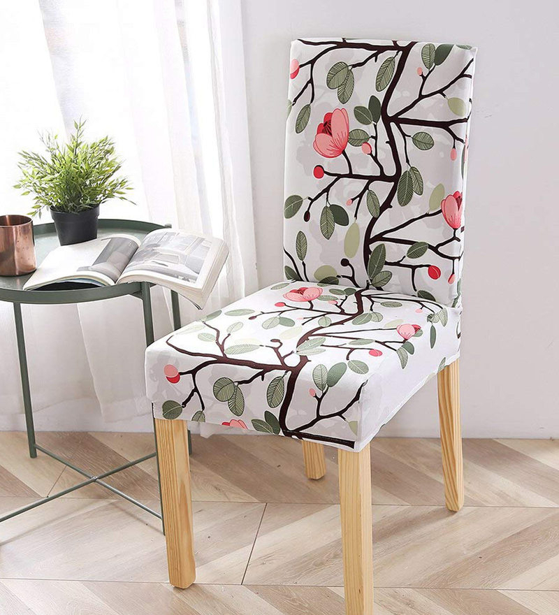 Polyester Floral Pattern 18x17 Elastic Chair Cover (set Of 6) For Preferred Danow Polyester Barrel Chairs (View 14 of 30)