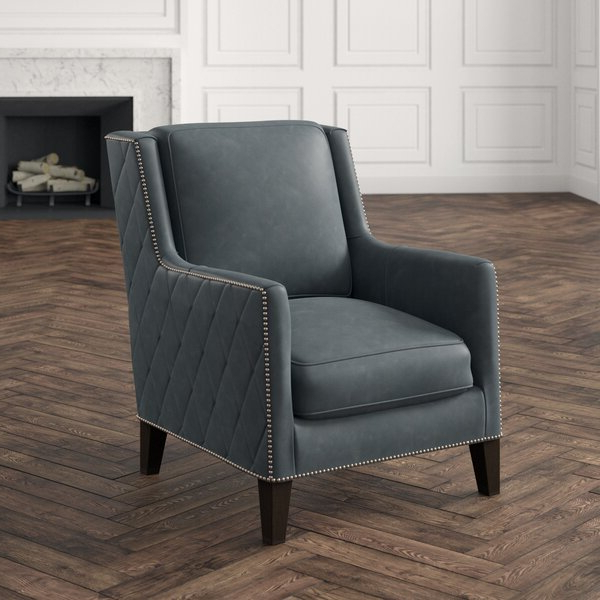 """Popular 30"""" W Top Grain Leather Armchair For Almada Armchairs (View 19 of 30)"""