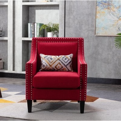Popular Accent Armchair Living Room Chair With Nailheads, Red Fabric: Red In Filton Barrel Chairs (View 13 of 30)