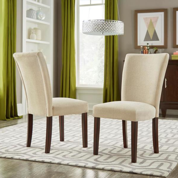 Popular Aime Upholstered Parsons Chairs In Beige Inside Espresso Beige Heathered Weave Parson Chair (set Of 2) (View 3 of 30)