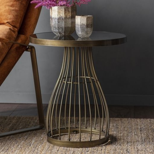 Popular Amely Round Glass Side Table, Black And Bronze (View 26 of 30)