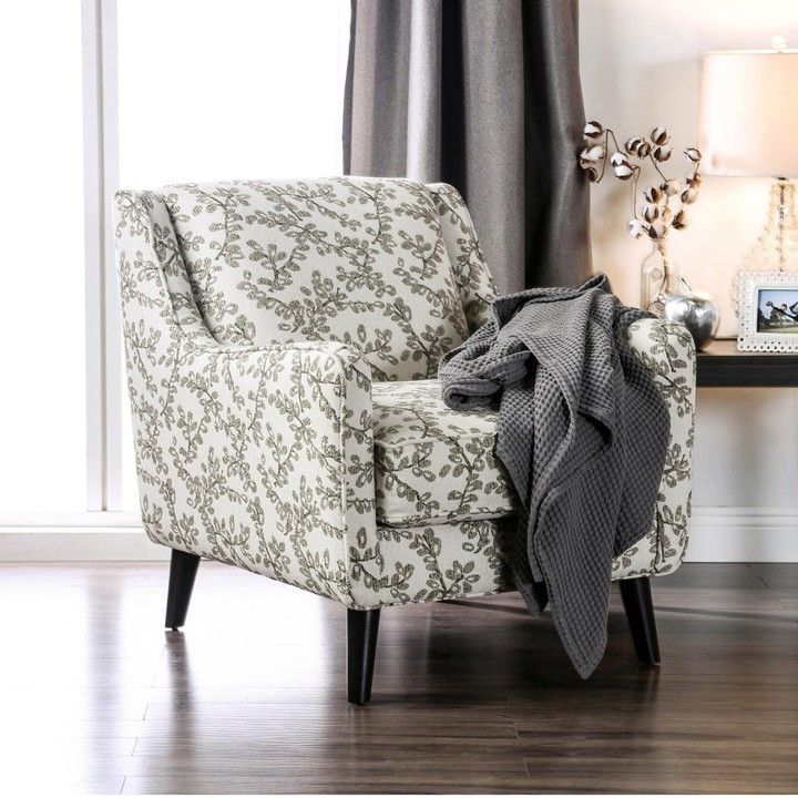 Popular Feer Transitional Ivory Fabric Floral Armchair Regarding Bethine Polyester Armchairs (set Of 2) (View 18 of 30)