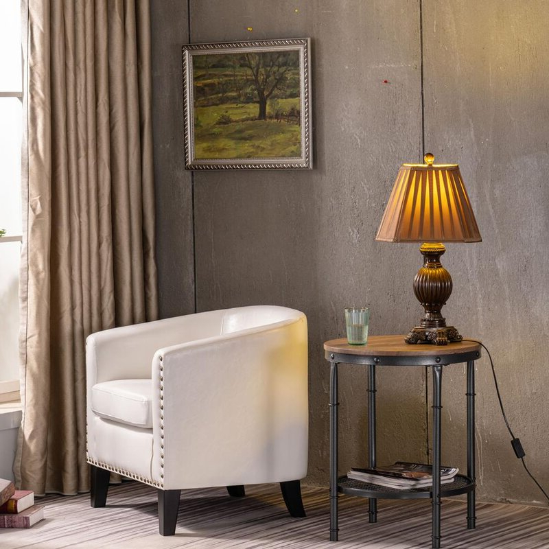 Featured Photo of Gilad Faux Leather Barrel Chairs
