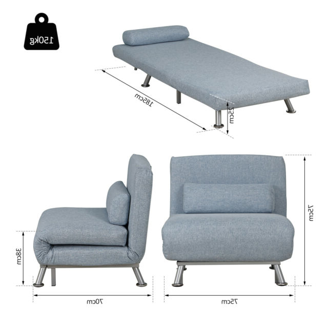 Popular Homcom Folding 5 Position Steel Convertible Sleeper Bed Sofa Chair Lounge Blue Pertaining To New London Convertible Chairs (View 17 of 30)
