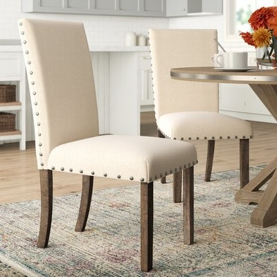 Popular Ismay Linen Upholstered Dining Chair In Beige With Bob Stripe Upholstered Dining Chairs (set Of 2) (View 14 of 30)
