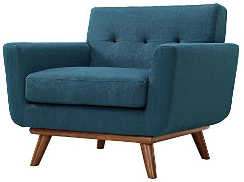 Popular Modway Engage Mid Century Modern Upholstered Fabric Accent Arm Lounge Chair In Azure, Armchair With Regard To Belz Tufted Polyester Armchairs (View 16 of 30)