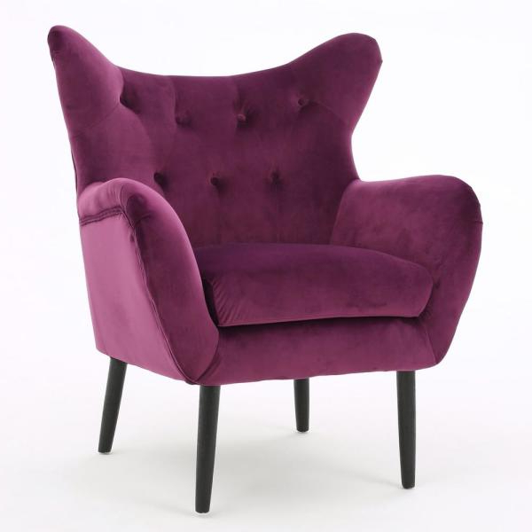Popular Noble House Seigfried Fuchsia New Velvet Tufted Arm Chair Within Didonato Tufted Velvet Armchairs (View 25 of 30)
