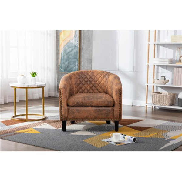 Popular Tub Chairs For Living Room Throughout Gilad Faux Leather Barrel Chairs (View 20 of 30)