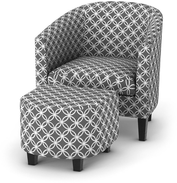 Porch & Den Brust Grey Print Club Chair With Ottoman Inside Preferred Riverside Drive Barrel Chair And Ottoman Sets (View 14 of 30)