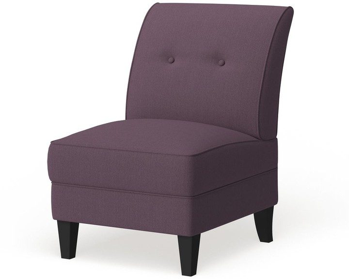 Porch & Den Pope Street Amethyst Purple Linen Armless Chair Throughout Preferred Claudel Polyester Blend Barrel Chairs (View 14 of 30)