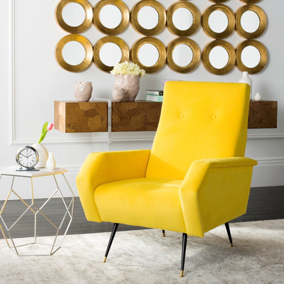 Preferred 6 Yellow Armchairs For A Retro Home – Cute Furniture With Lauretta Velvet Wingback Chairs (View 30 of 30)