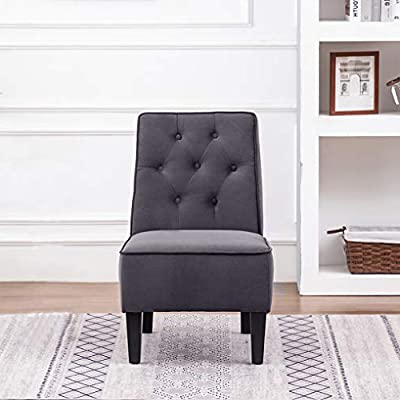 Preferred Armless Upholstered Slipper Chairs With Annjoe Armless Accent Chair, Button Tufted Slipper Chair Side Chair Single Sofa For Dining Room Living Room Bedroom Funiture (one Seat Gray 1) (View 12 of 30)