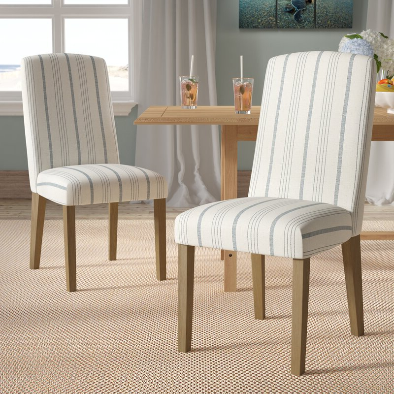 Featured Photo of Bob Stripe Upholstered Dining Chairs (Set Of 2)