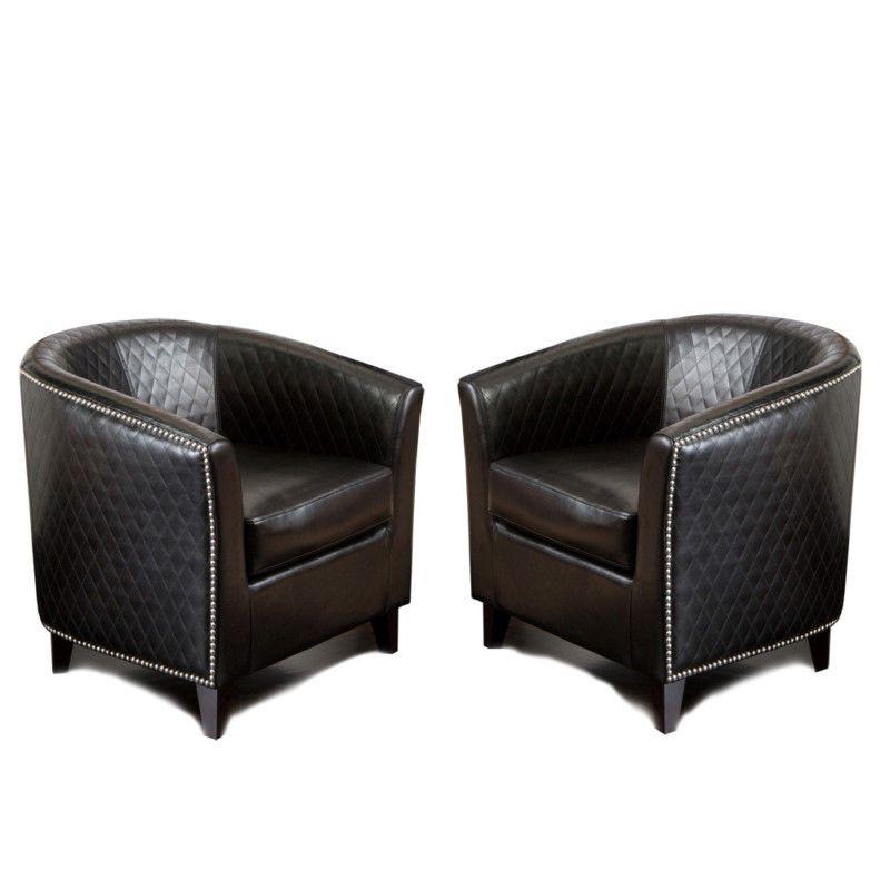 Preferred Danny Barrel Chairs (set Of 2) For Set Of 2 Elegant Modern Design Black Leather Tub / Barrel (View 19 of 30)