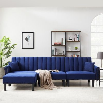 """Preferred Hallsville Performance Velvet Armchairs And Ottoman Throughout Glascock 118"""" Velvet Reversible Sleeper Sofa & Chaise With Ottoman Fabric: Navy Blue (View 25 of 30)"""