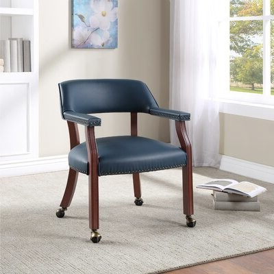 Preferred Heideman Leather Arm Chair Upholstery Color: Navy Inside Aime Upholstered Parsons Chairs In Beige (View 11 of 30)