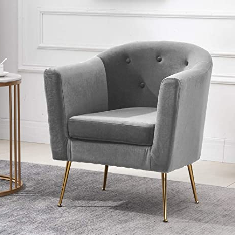 Preferred Huisen Furniture Accent Living Room Tub Chairs Armchair For Lounge Clue Bedroom Occasional Sofa Side Chairs With Velvet Upholstered Seat And Metal With Pitts Armchairs (View 17 of 30)