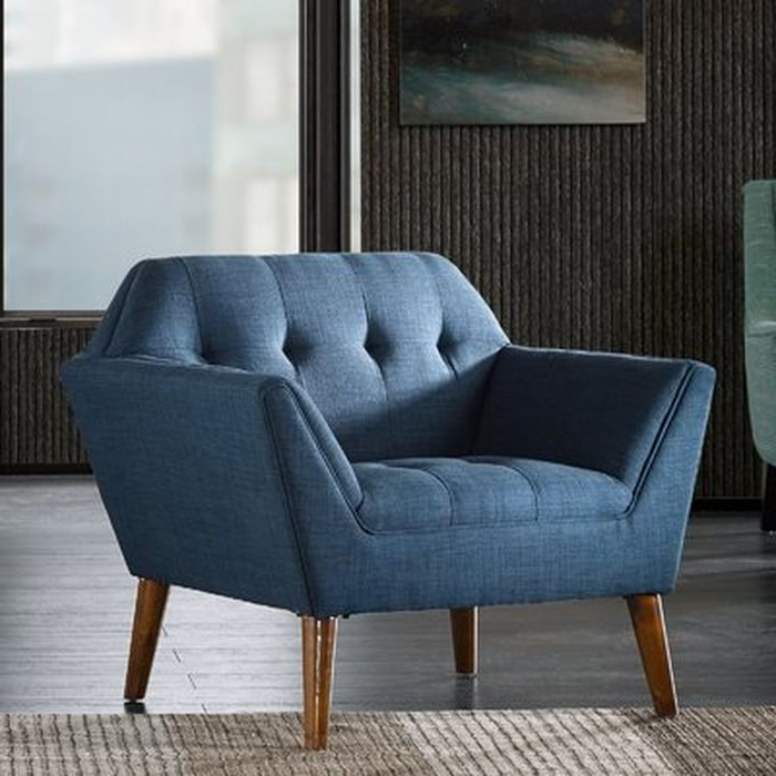 Preferred Langley Street Belz Armchair In Blue Within Belz Tufted Polyester Armchairs (View 6 of 30)