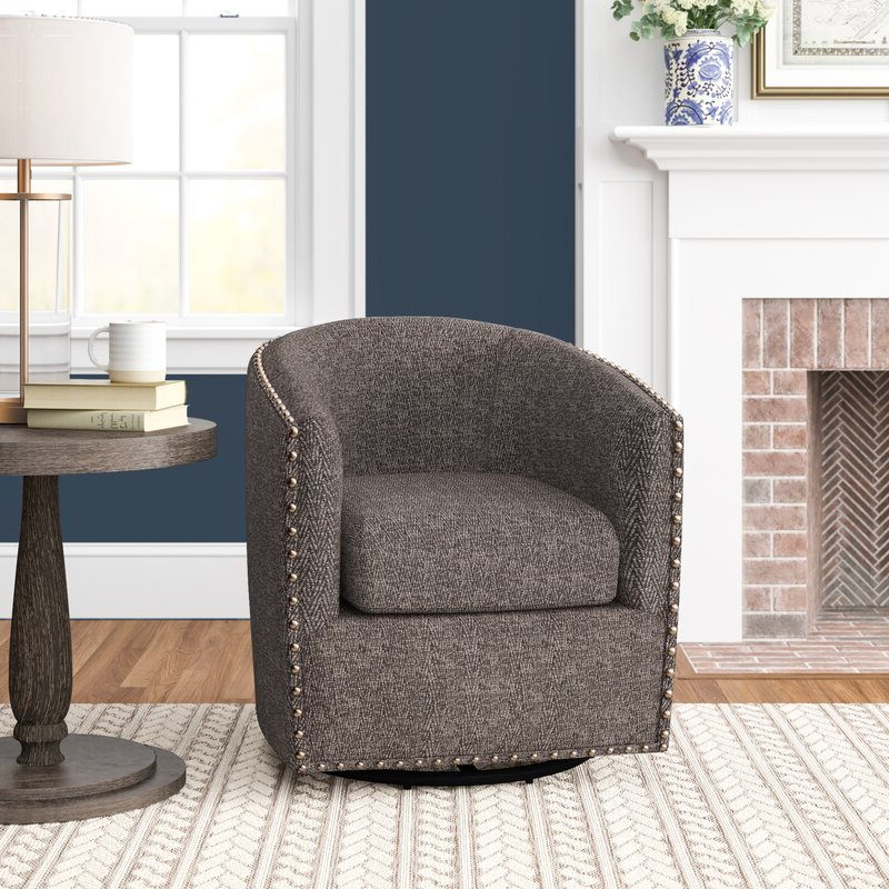 "Preferred Leominster 28"" W Polyester Swivel Barrel Chair Throughout Giguere Barrel Chairs (View 9 of 30)"