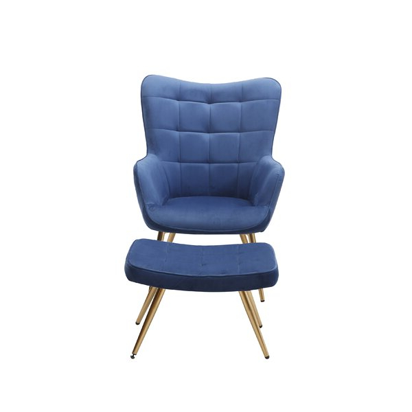 """Preferred Sau 29"""" W Tufted Velvet Wingback Chair And Ottoman In Hallsville Performance Velvet Armchairs And Ottoman (View 16 of 30)"""