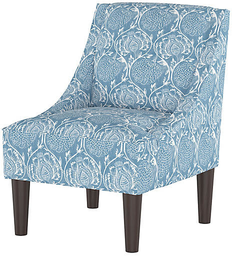 Quinn Swoop Arm Chair – Floral French Blue For Widely Used Altamahaw Swoop Side Chairs (View 30 of 30)