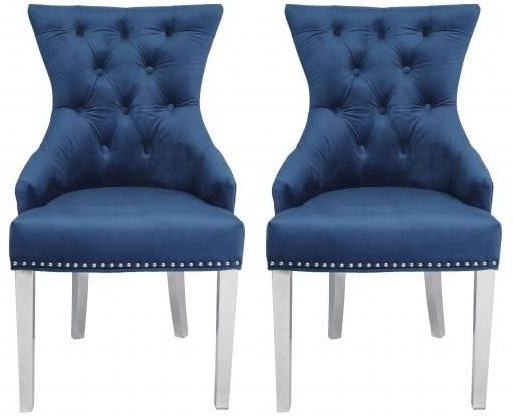 Recent Blue Velvet Fabric Dining Chair With Stainless Steel Legs (pair) – Cfs Furniture Uk Throughout Carlton Wood Leg Upholstered Dining Chairs (View 25 of 30)