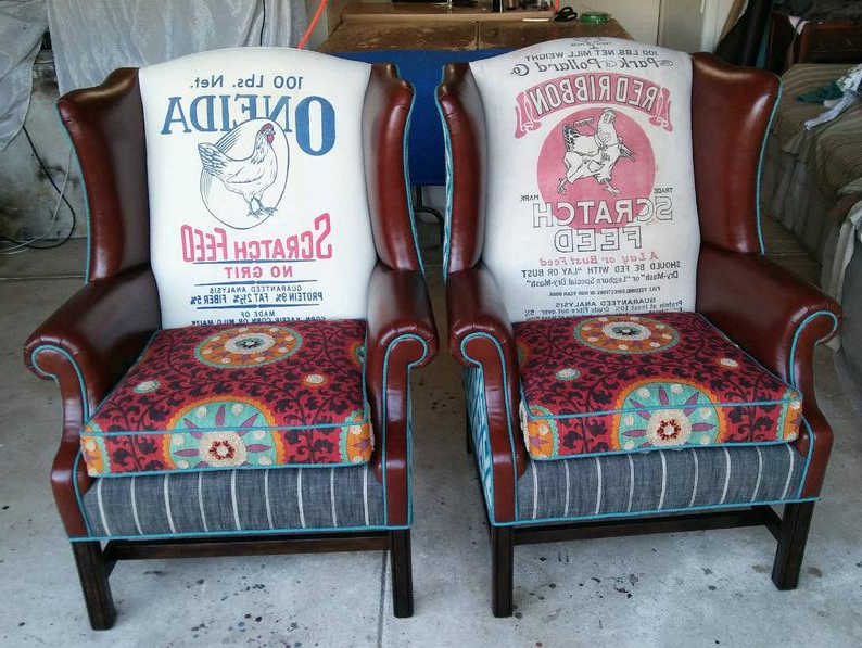 """Recent Custom Order Vintage Farmhouse Wingback Chair """"fiesta Farmhouse Wingback"""" Coordinating Pair Custom Created For You (View 12 of 30)"""