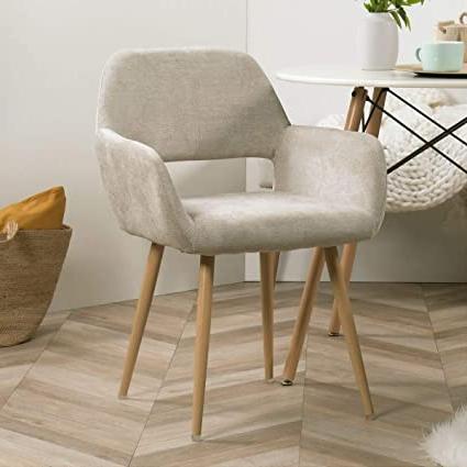 Recent Furnish1 Scandinavian Dining Chair In Beige Fabric Metal Look Oak Design Living Room Office Bedroom Regarding Aime Upholstered Parsons Chairs In Beige (View 5 of 30)