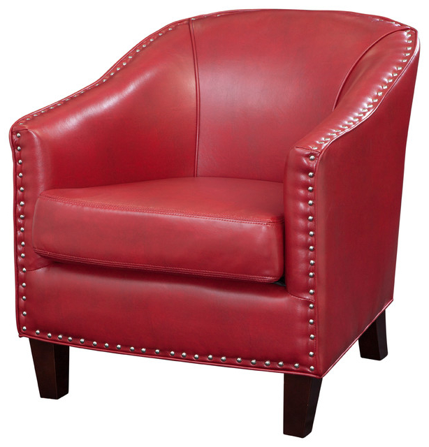 Recent Grafton Home Faux Leather Barrel Chair, Red With Faux Leather Barrel Chairs (View 2 of 30)