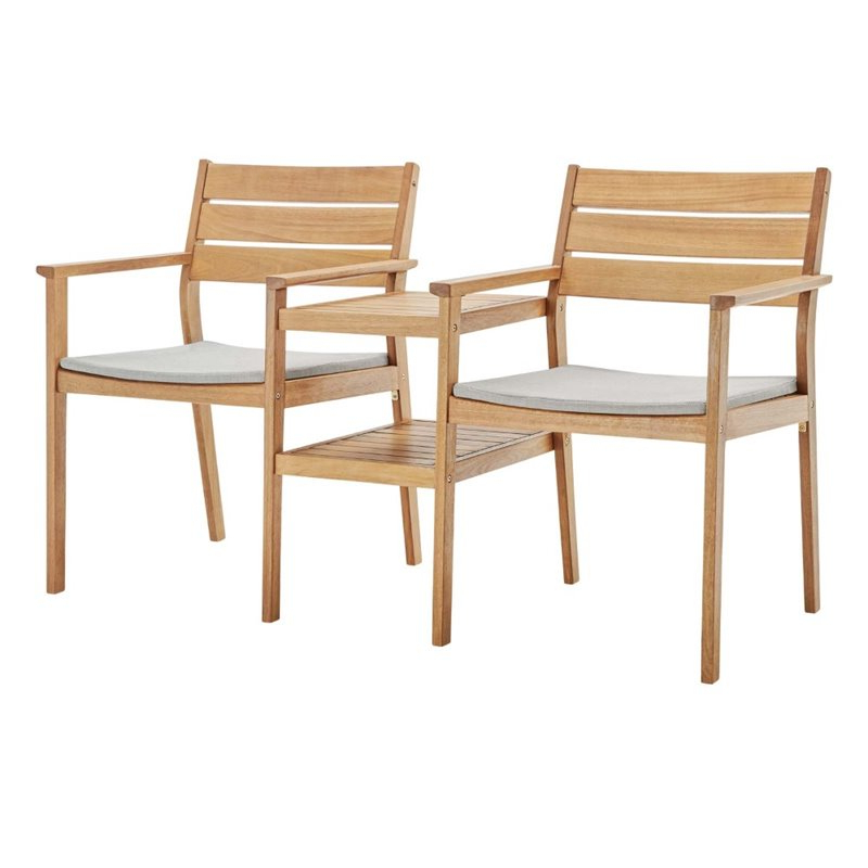Recent Jill Faux Leather Armchairs Intended For Modway Viewscape Outdoor Ash Wood Jack And Jill Chair Set In Natural And Taupe (View 20 of 30)