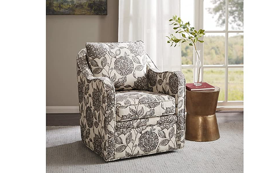 Recent Loftus Swivel Armchairs Intended For Madison Park Brianne Swivel Chair – Solid Wood, Plywood, Metal Base Accent Armchair Modern Classic Style Family Room Sofa Furniture, Multi (View 8 of 30)