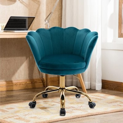 Recent Velvet Swivel Chair On 5 Rolling Castors, Height Adjustable Lift Home Office Desk Chair, Modern Shell Computer Chair,accent Chair Soft Furry Compact P For Vineland Polyester Swivel Armchairs (View 13 of 30)